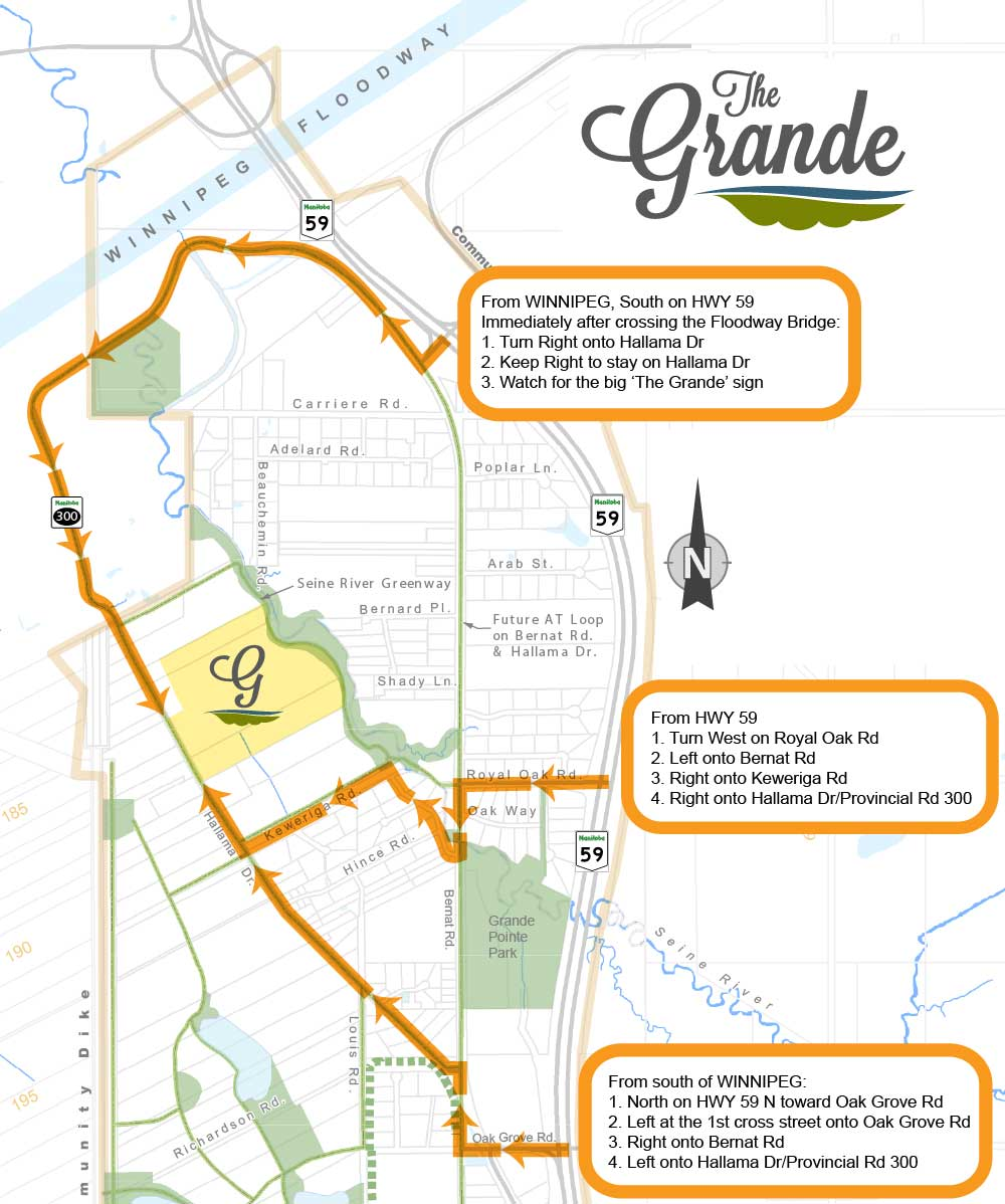 Map showing how to get to The Grande